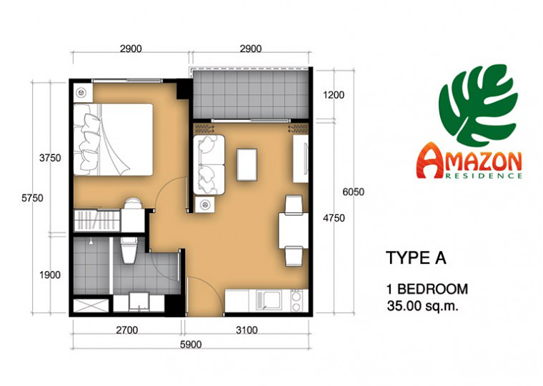 Amazon residence jomtien 1 zimmer wohnung kaufen for One bedroom condo design