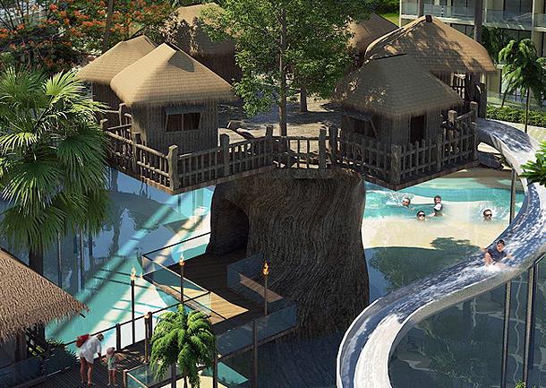 Baumhäuser mit Wasserrutschen The Maldives Resort Pattaya Jomtien
