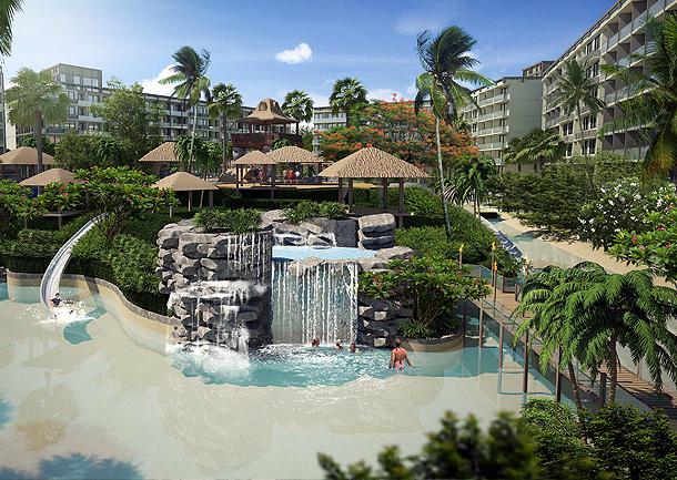 Waterfälle, Sandstrand und üppiger Garten The Maldives Pattaya Jomtien