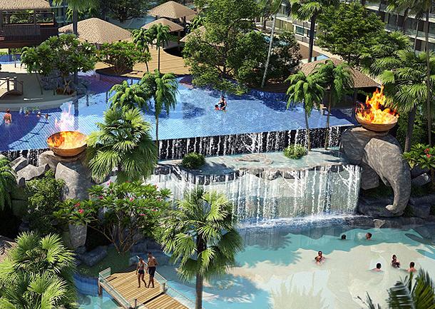 Sehr großer Wasserfall ergießt sich in den unteren Pool - The Maldives Jomtien Thailand