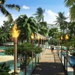 Teilweise mit Fackeln beleuchtete Holzstege verbinden die verschiedene Bereiche The Maldives Resort Pattaya - Jomtien Thailand