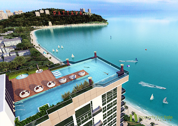 41m 1 zimmer wohnung wong amat tower kaufen pattaya for Rooftop swimming pool