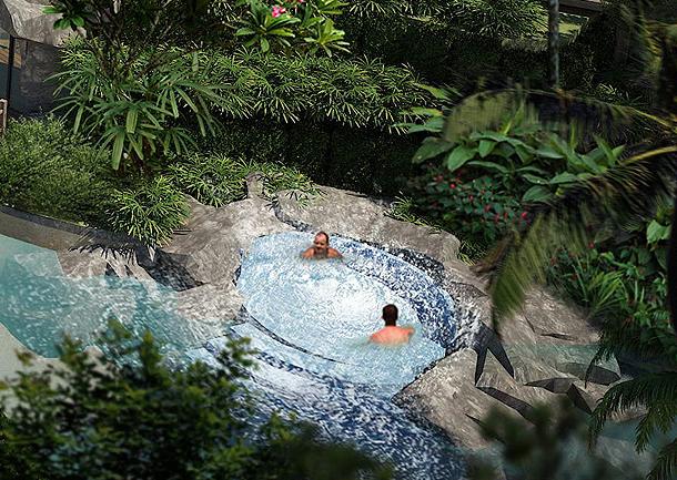 Jacuzzi umgeben von Natur The Maldives Pattaya Jomtien
